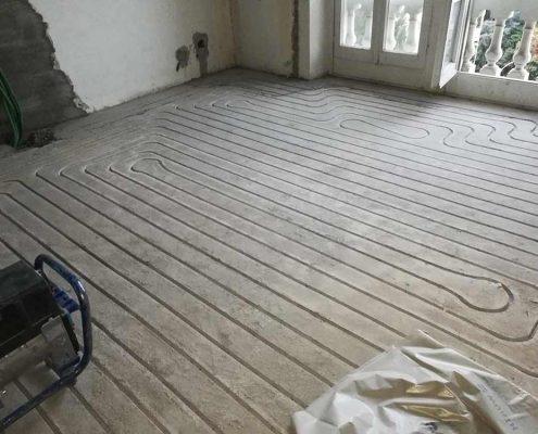 Impianto radiante a pavimento spessore zero